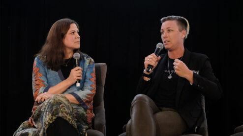 Diana Amini and Abby Wambach on stage at United Nations