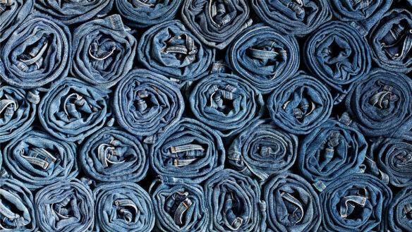 Rolled up denim jeans