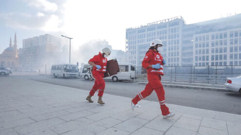 Red Cross staff in Lebanon