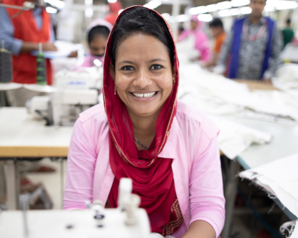 Female textile worker in Bangladesh